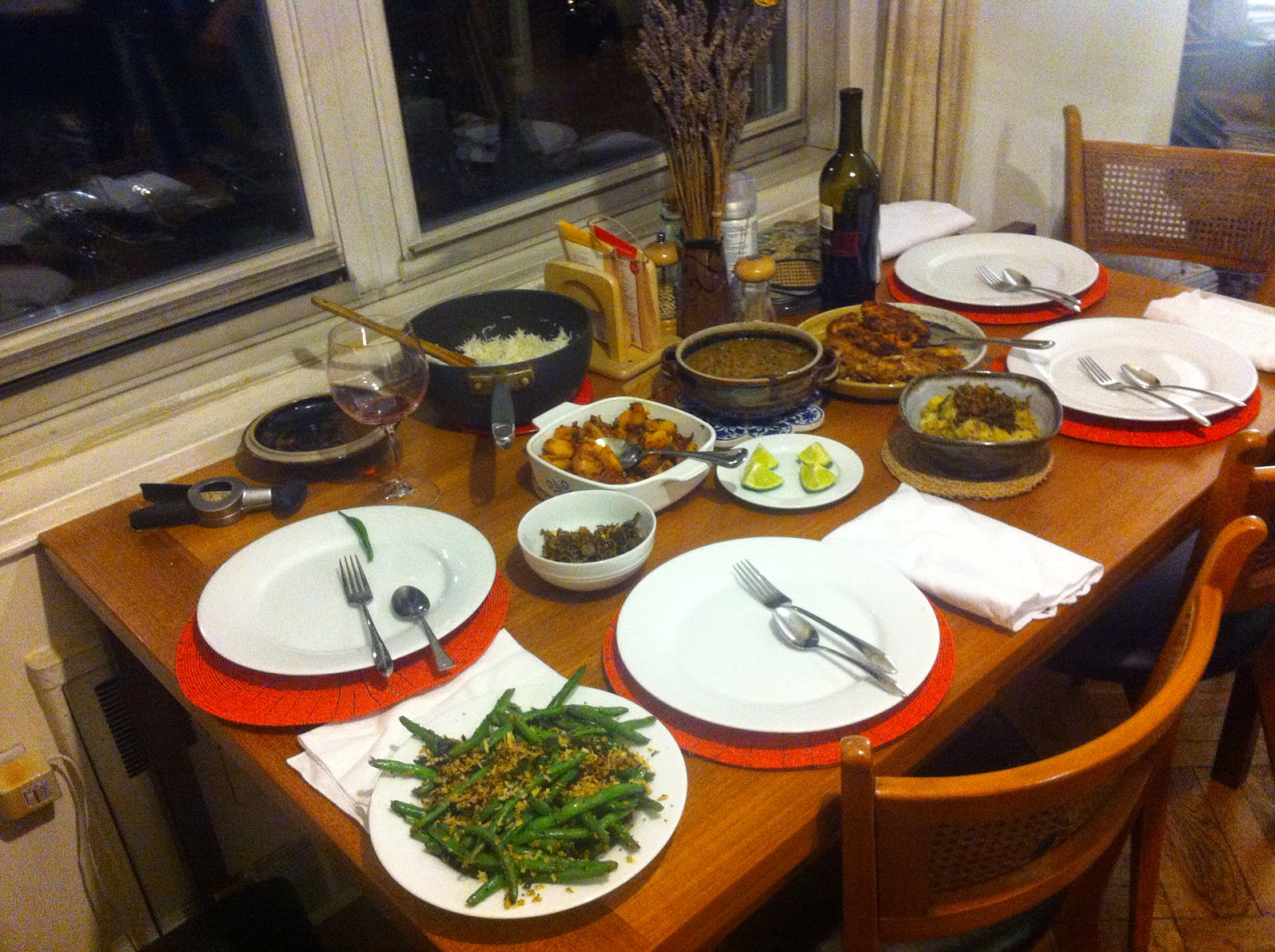 Family dinner table with food - Dinner With Rum And Pontus Bhaja Moong Dal Beans Poriyal Shamrock Green G T And More
