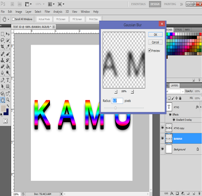 membuat text 3D di photoshop