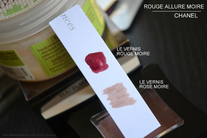 chanel rouge allure moire makeup collection swatches le vernis nail polish rouge moire rose 593 595