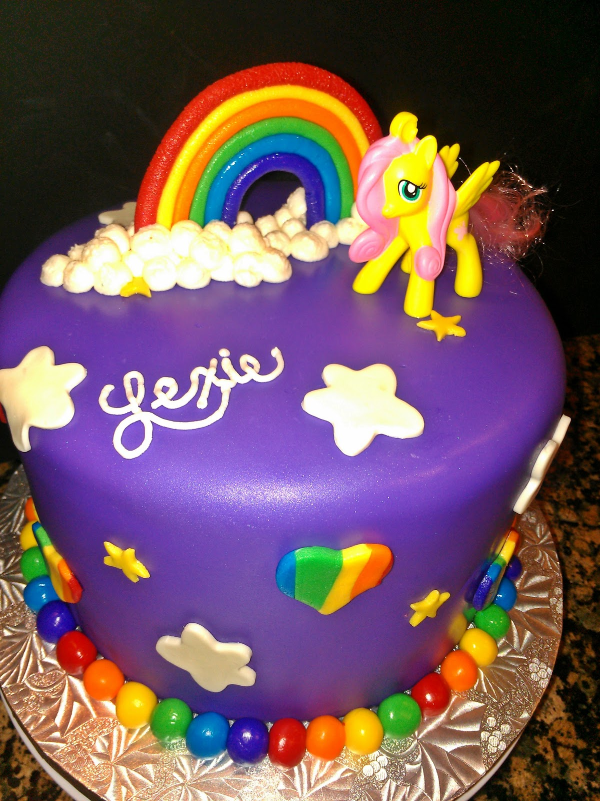 my little pony cake with rainbow white almond cake and a light ...