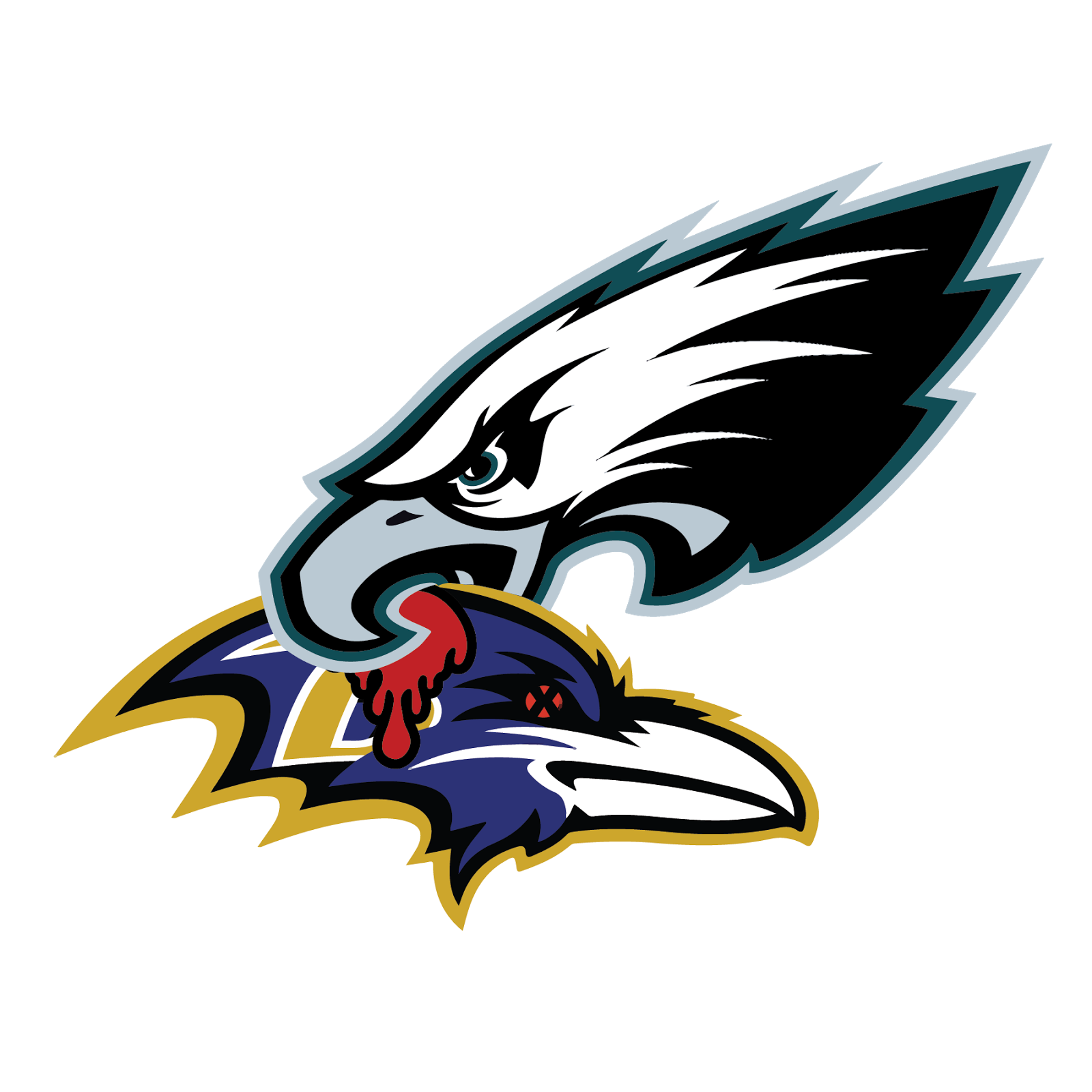 Philadelphia Eagles and Baltimore Raven, metal, logo, reimagined