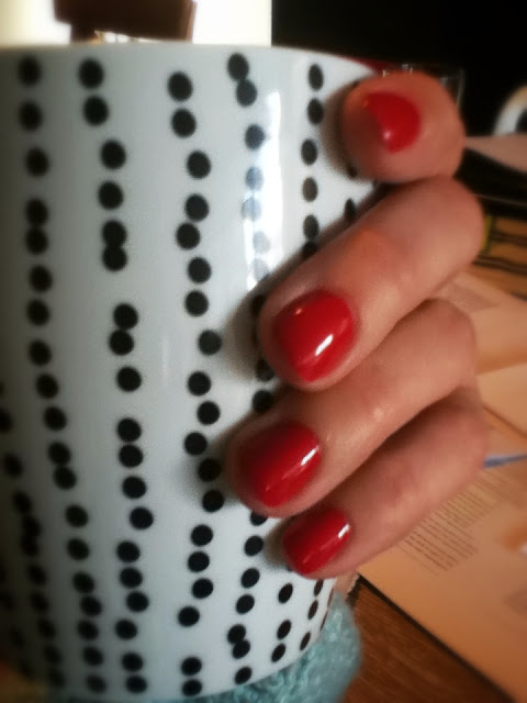 Red Shellac Manicure Nails