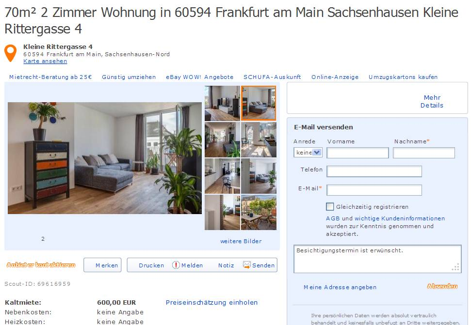 70m 2 zimmer wohnung in 60594 frankfurt am main sachsenhausen. Black Bedroom Furniture Sets. Home Design Ideas