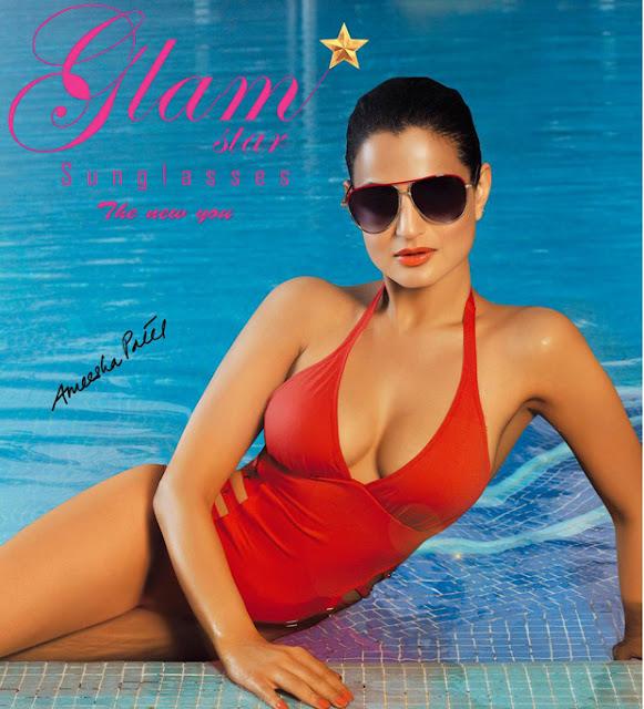 Amisha Patel Exposing Cleavage In Bikini