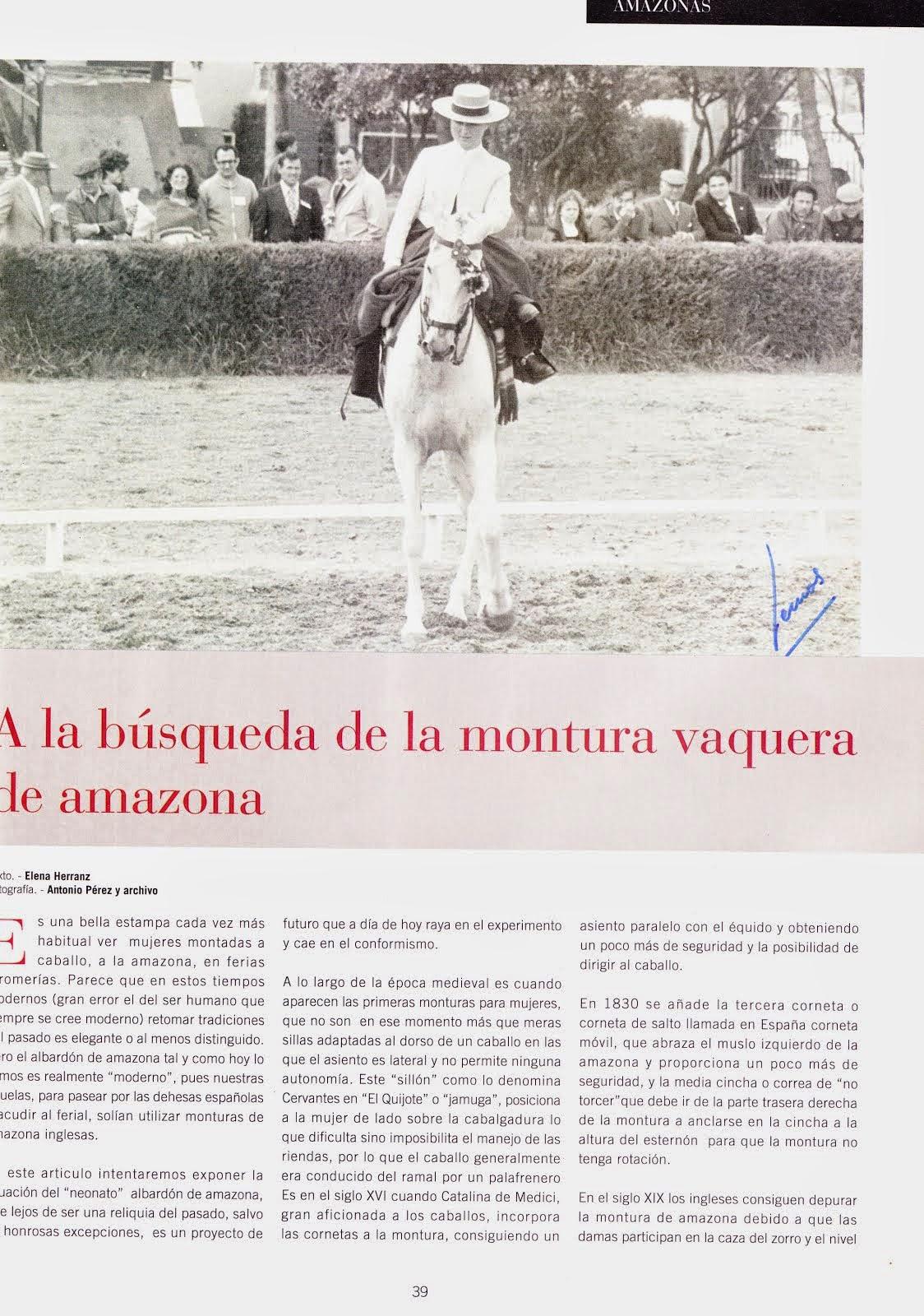Articulo sobre algunos aspectos de la montura vaquera de cornetas