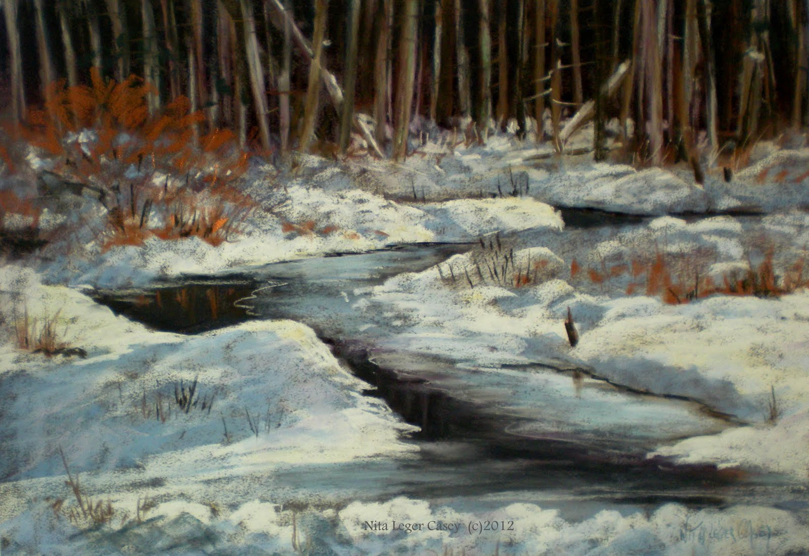 Winter Stream ,18x24 ,$1800. ©2017