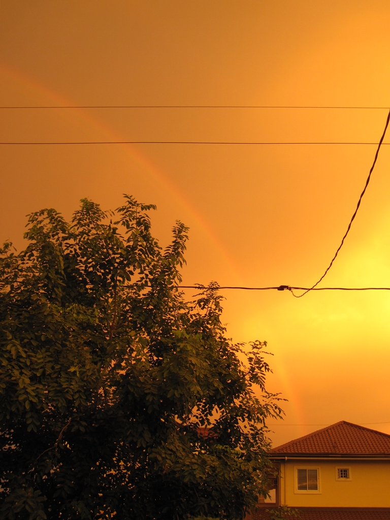 Too orangey sky, rainbow, was it because of Habagat?  (Photo by Bernard Eirrol Tugade)