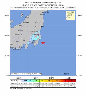 Epicentro sismo 5,8 grados, Japón, 19 de Febrero de 2013