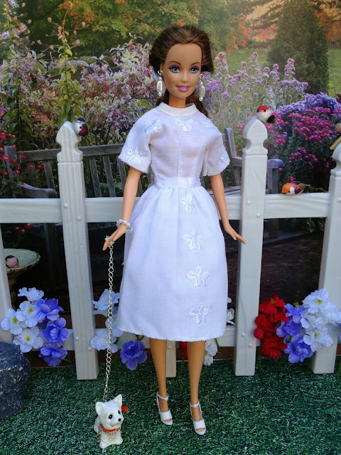 Handmade, White Barbie doll dress at www.enchantedstyles.etsy.com