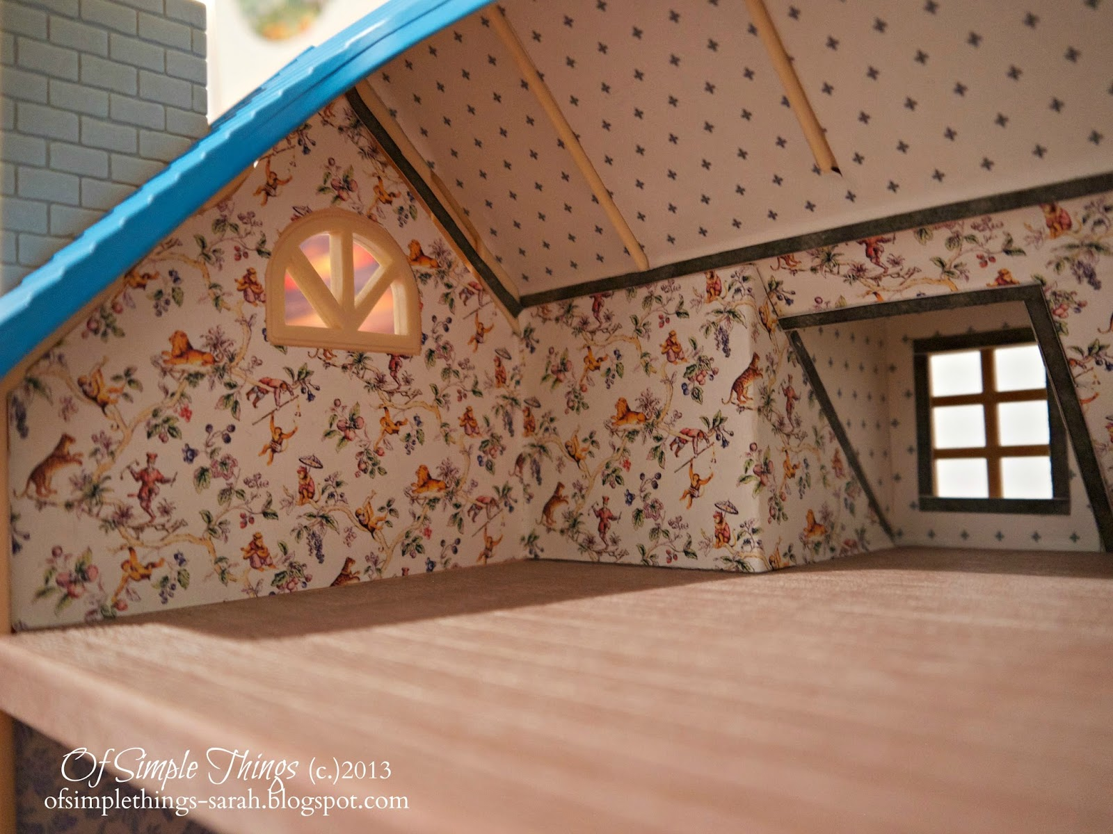 A closer look at the attic. Of Simple Things  Dollhouse Decorating  Part 1