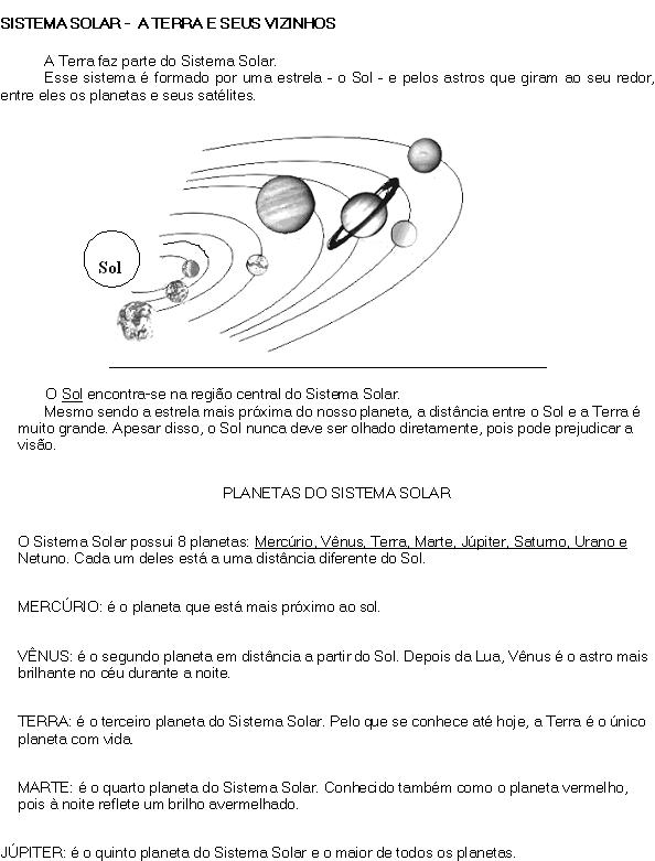 Preferência Banco de Atividades: GEOGRAFIA- sistema solar FI94