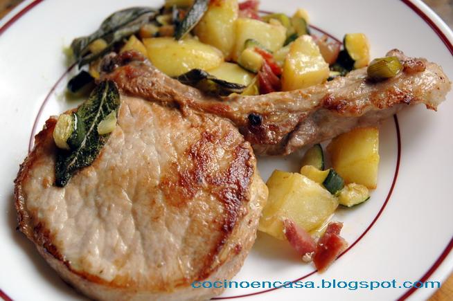 Chuletas de cerdo cortadas gruesas  2 cm Chuletas De Cerdo Al Arriero