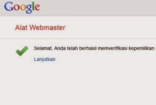Gambar saat berhasil mendaftar kan blog diwebmaster tools tutorial-kumplit.com