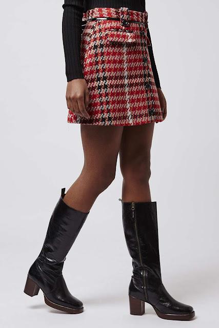 topshop red dogtooth skirt, red dogtooth skirt,