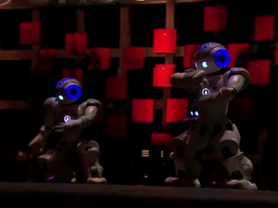 Robots dancing on stage