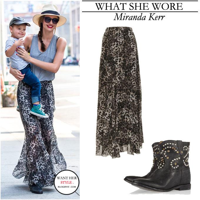 what she wore miranda kerr in leopard print maxi skirt