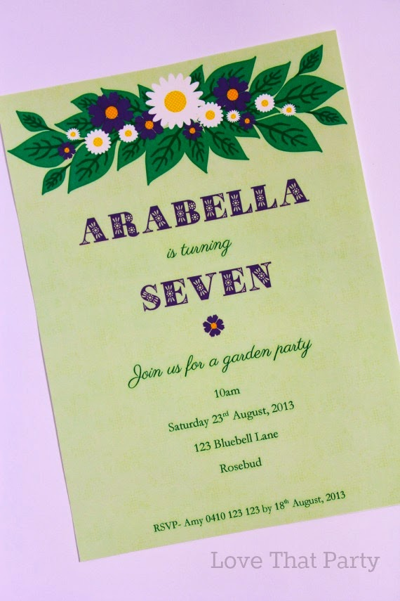 Printable Floral Garden Party Birthday Invitation in Lime & Purple - Love That Party. www.lovethatparty.com.au