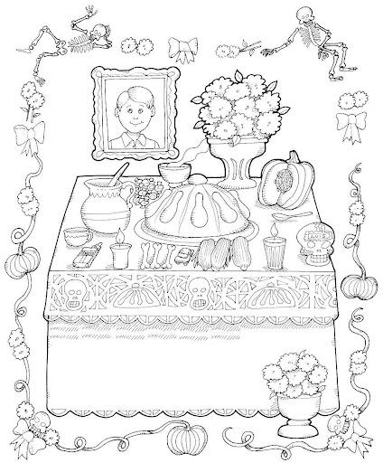 Ciclo Escolar: El Dia de Muertos - Dibujos para Colorear.