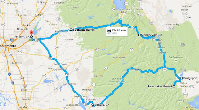 Map of Folsom-Twin Lakes roundtrip