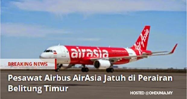 Portal Indonesia lapor pesawat AirAsia terhempas di Belitung Timur