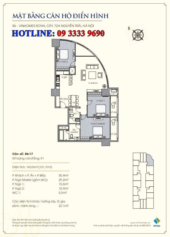 Mặt bằng căn hộ số 17 R6 Royal city