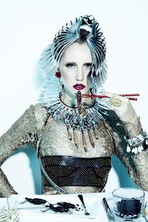 woman eating grasshopper, haute couture, fork headpiece, fashion and beauty photographer nyc