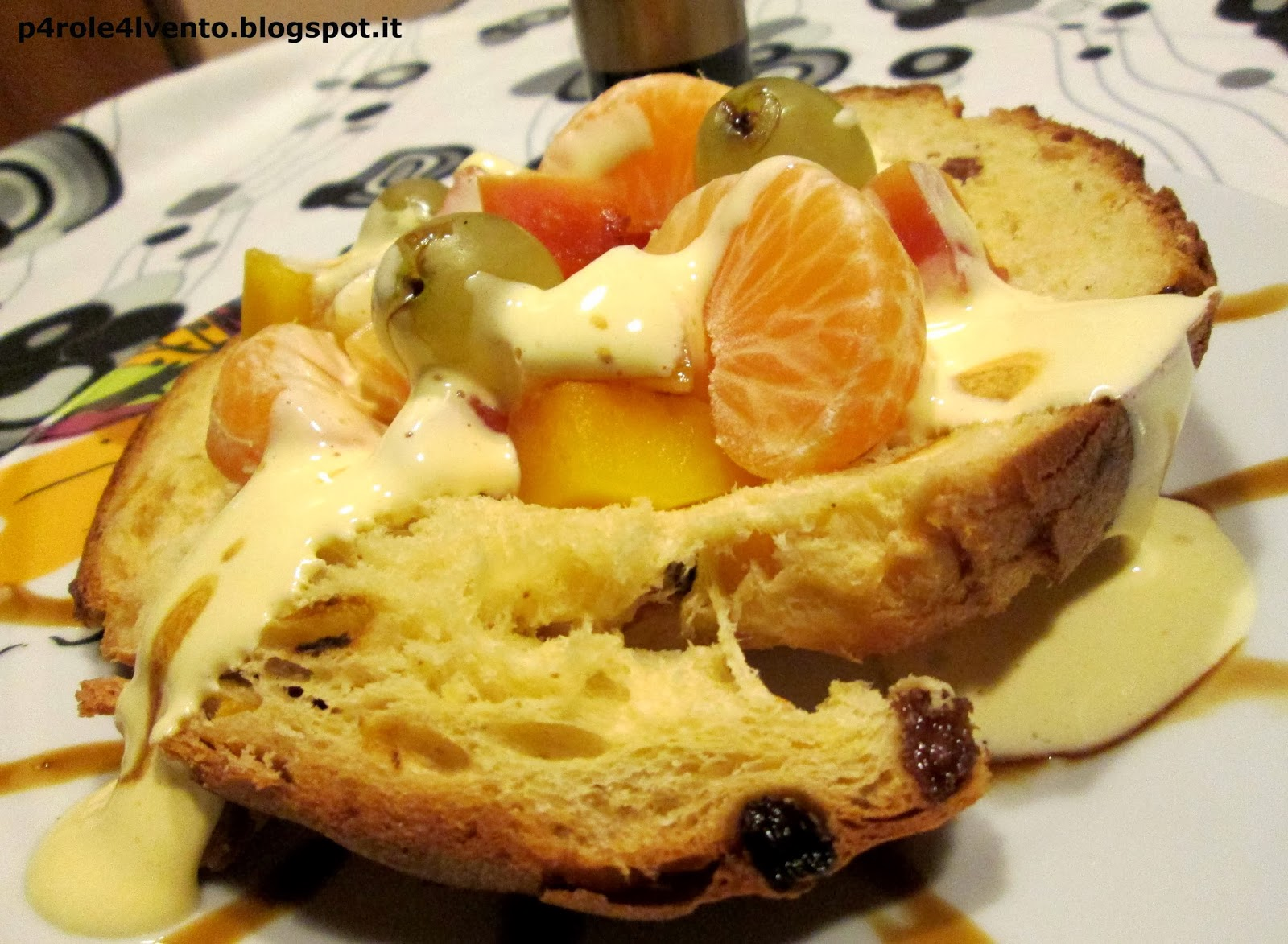 barchetta di panettone con zabaione balsamico guerzoni e frutta esotica