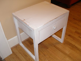Rustic Furnishings' Side table distressed in white paint