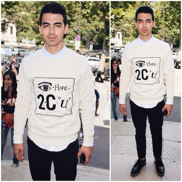 Joe Jonas in Carven Hope 2 C U sweatshirt at Carven show - Paris Fashion Week Menswear Spring Summer 2015
