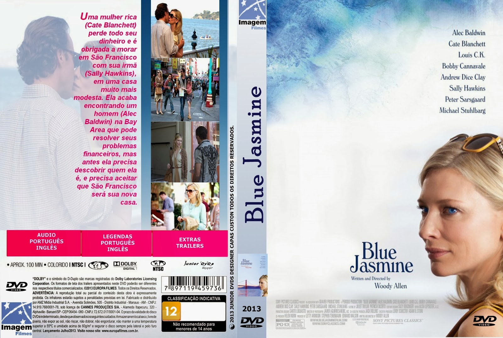 Blue Jasmine BDRip XviD Dual Áudio CAPA DO FILME BLUE FASMINE   JUNIOR DVDS DESIGNE