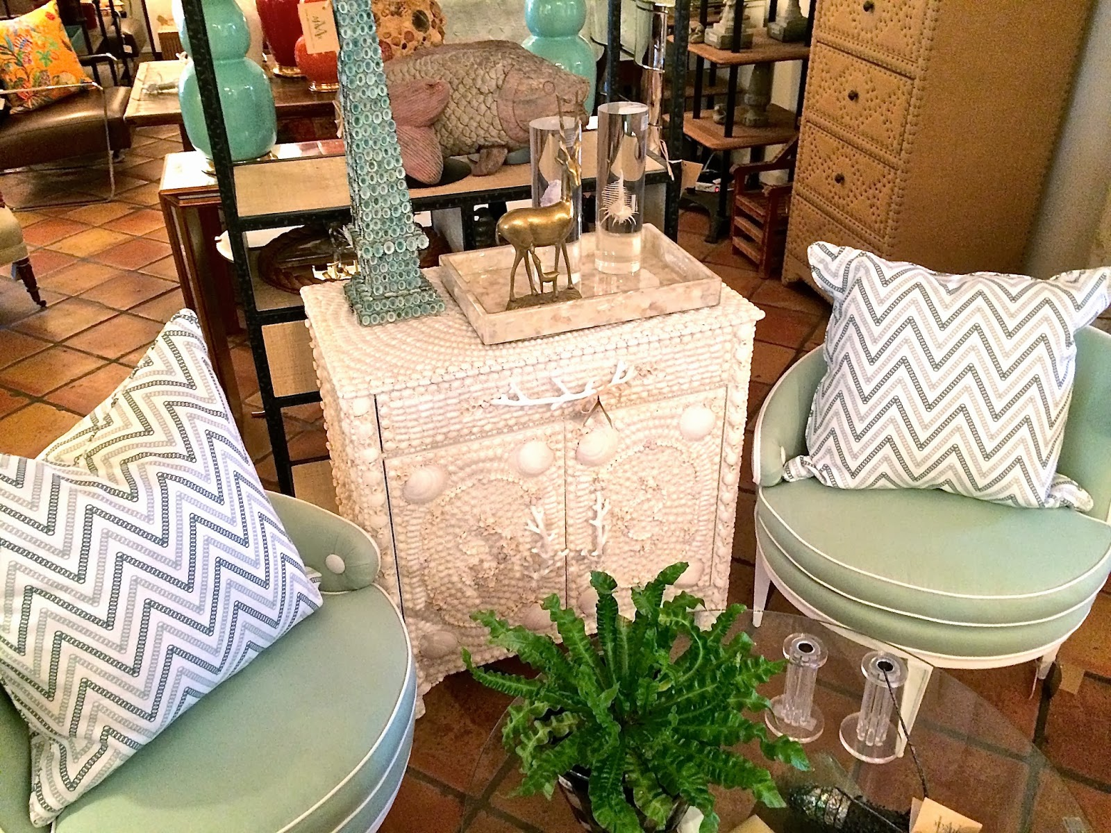 COCOCOZY Circle Chevron linen pillows in Sea Foam and Sea Green at Mecox Gardens