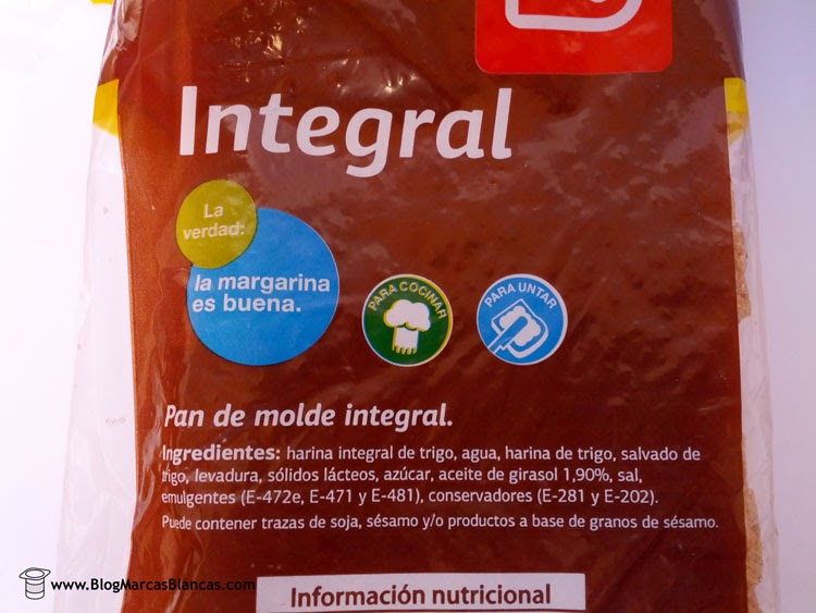 Ingredientes del pan de molde integral DIA.