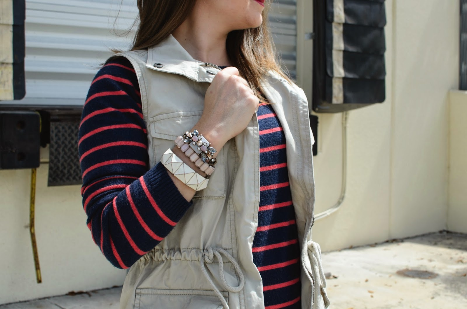 utility vest - stripped sweater - #armparty