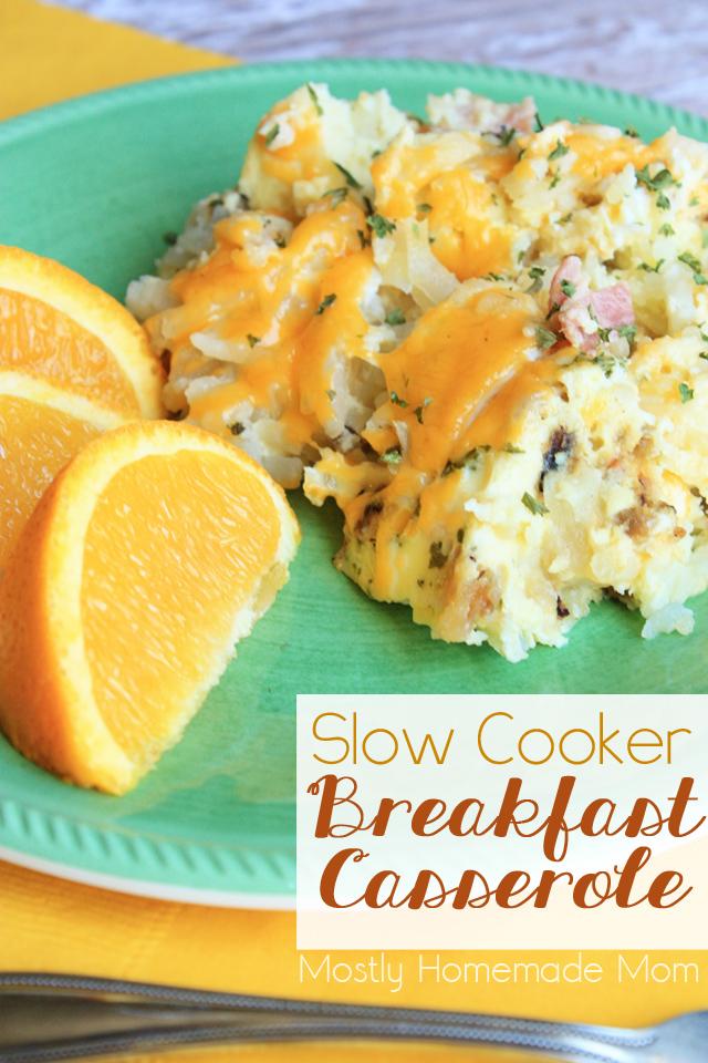 Slow cooker breakfast casserole mostly homemade mom for Slow cooker breakfast recipes for two