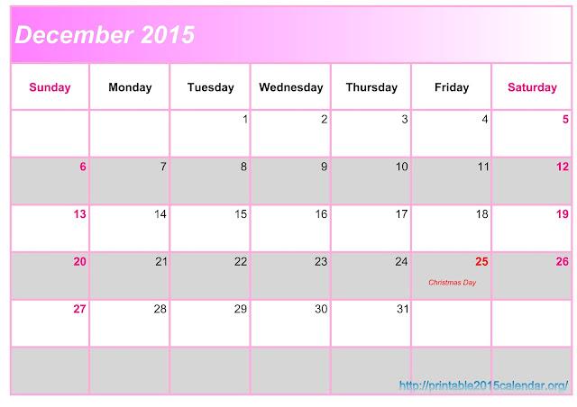 December 2015 Printable Calendar A4