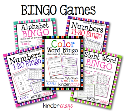 Class sets of 30 BINGO games