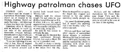 Highway Patrolman Chases UFO – Independent Record, The 10-12-1975