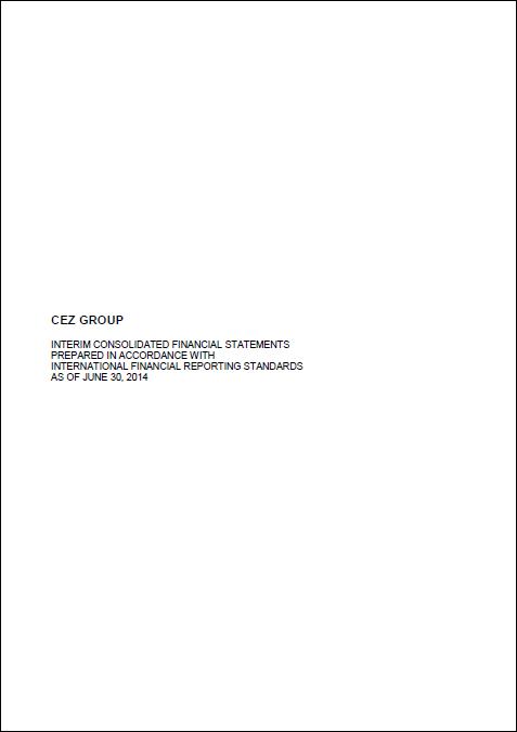 Cez, Q2, 2014, report, front page