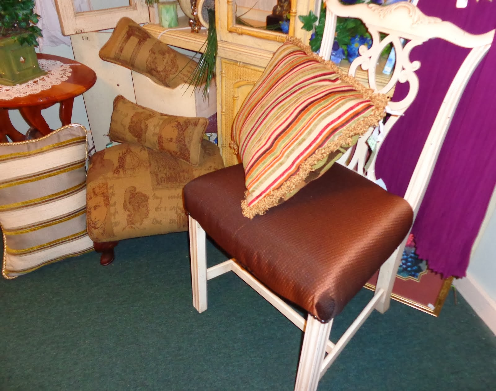 Chair, footstool and pillows