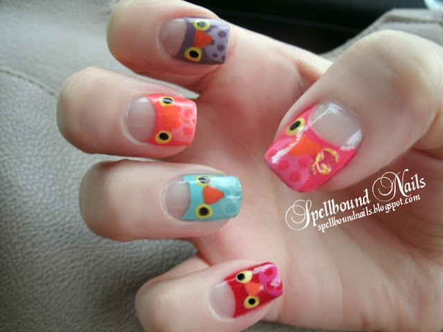 Parliament of Owls Owl nail art nails