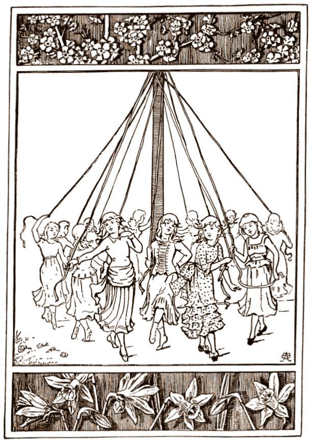 Vintage maypole dance
