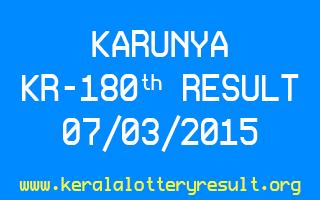 KARUNYA KR 180 Lottery Result 7-3-2015