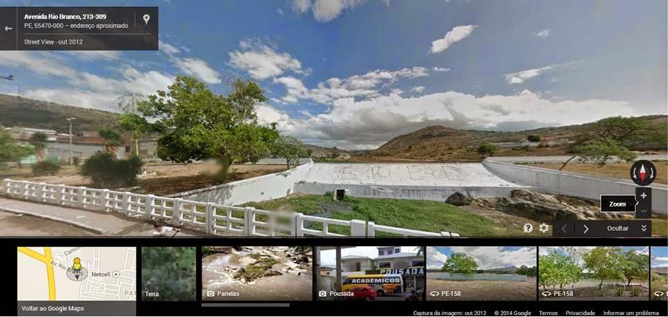 Açude de Panelas, imagem capturada pelo Street View do Google em 2012.