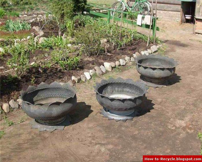 how to recycle old tires as a flower pots On making flower pots out of tires