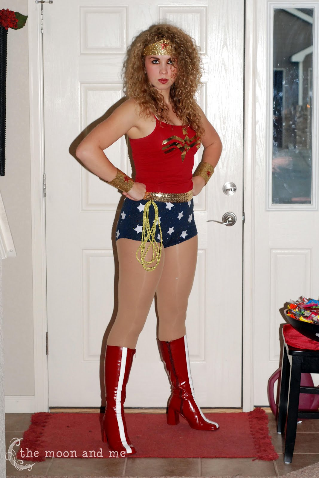The moon and me diy wonder woman costume she did get to wear it to a party hand out candyd yes for trick or treating solutioingenieria Image collections