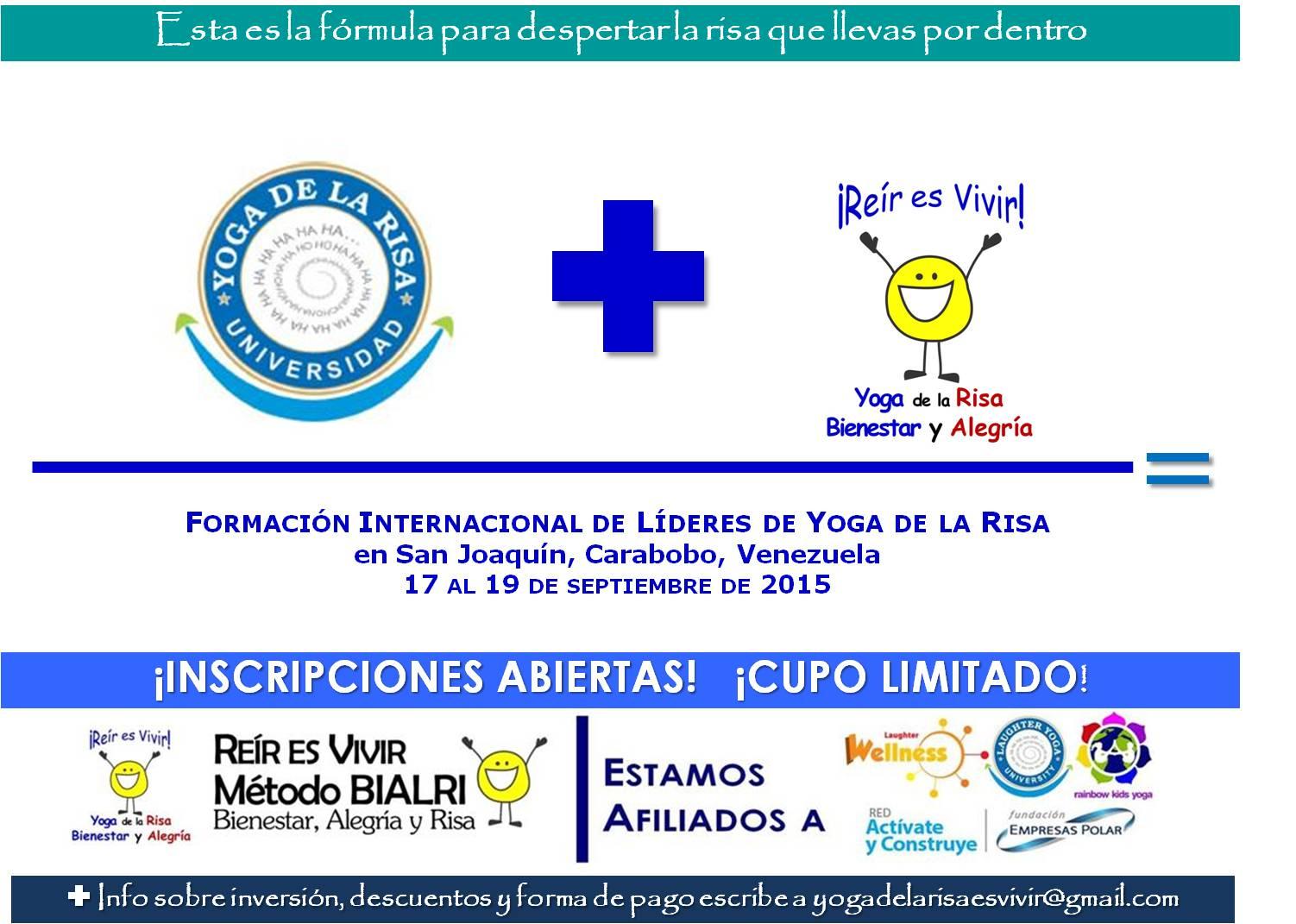 SEPTIEMBRE 2015: CERTIFICACIÓN DE LÍDERES EN YOGA DE LA RISA