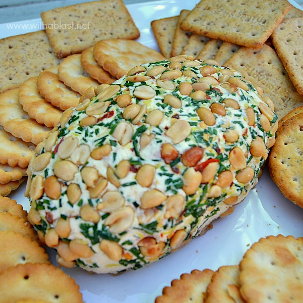 Bacon and Chives Cheese Ball ~ BEST appetizer or snack especially on Game Day or when having a party and this Cheese Ball will steal the show !