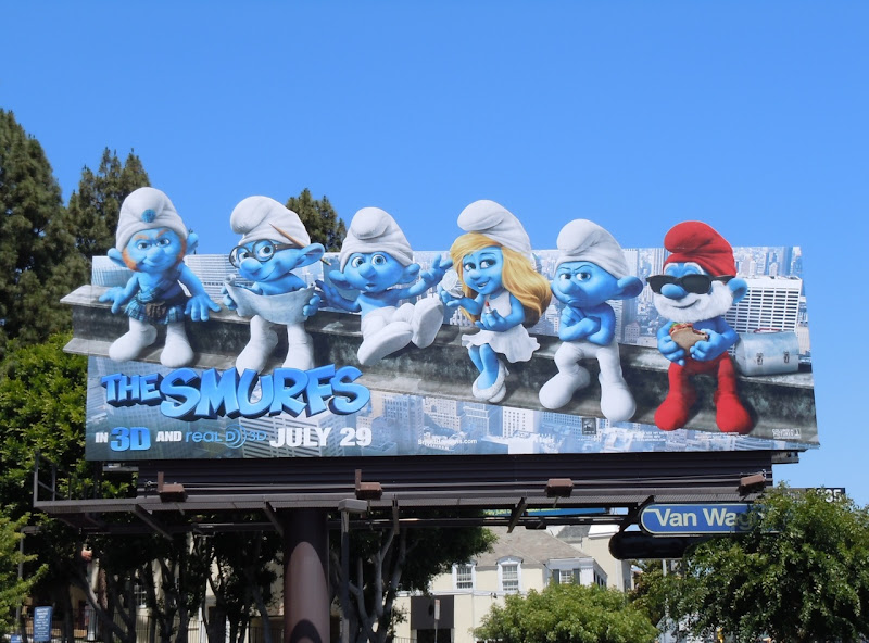 Smurfs movie billboard