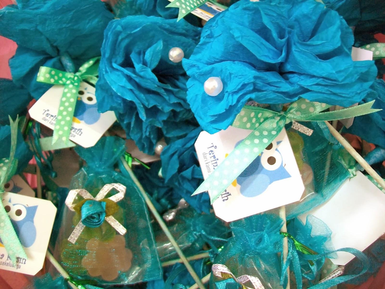 Bunga telur yang dah siap.Kaler biru turquoise