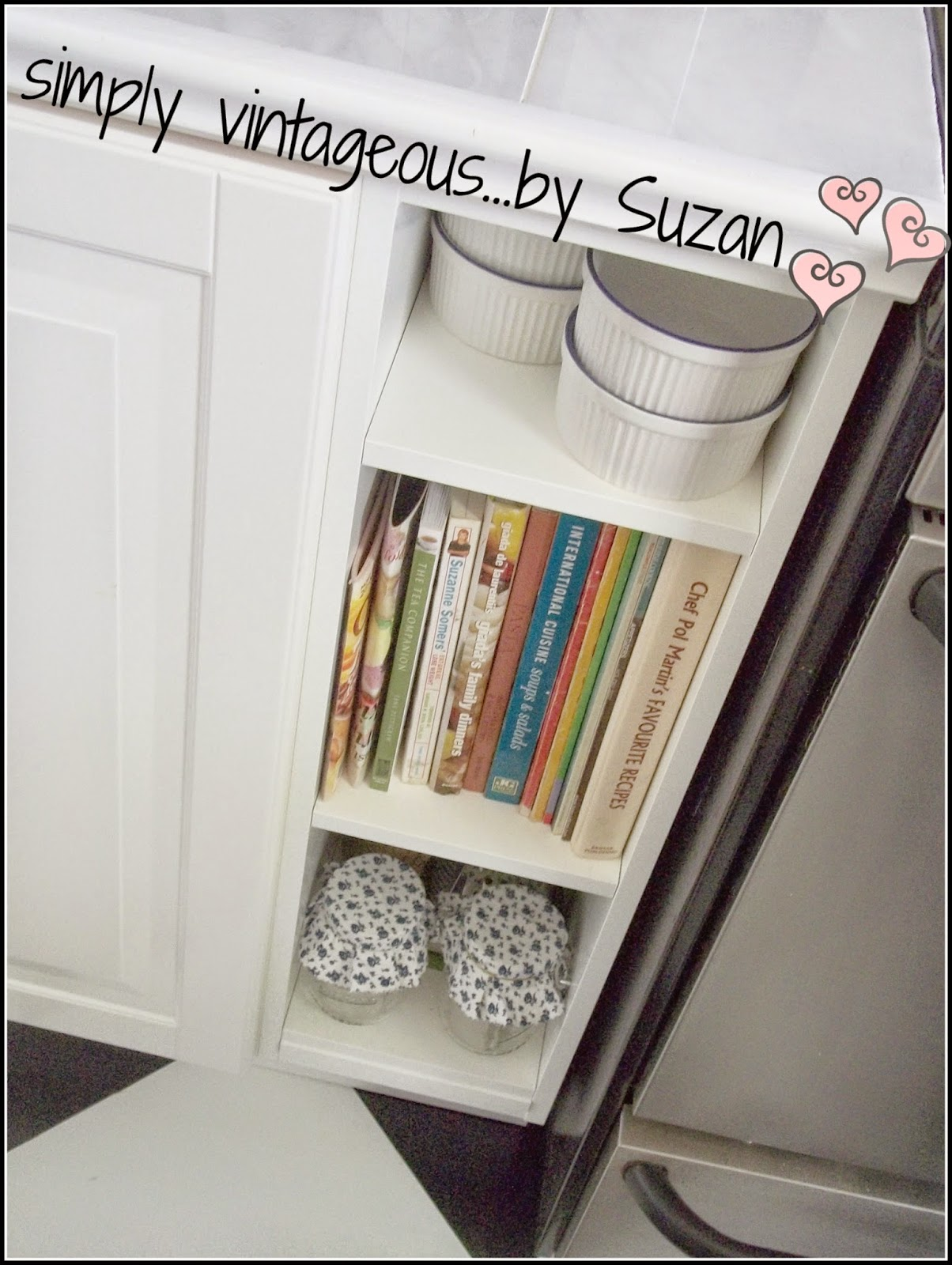 a place to store cookbooks